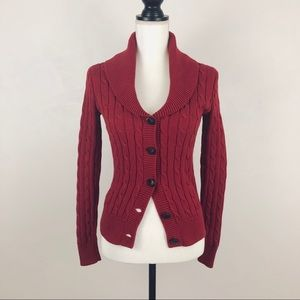 Ralph Lauren Sport Red Cable Knit Button Sweater S